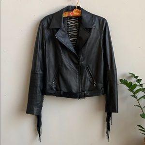 🦋 Haute Hippie Corset Fringe Leather Moto Jacket
